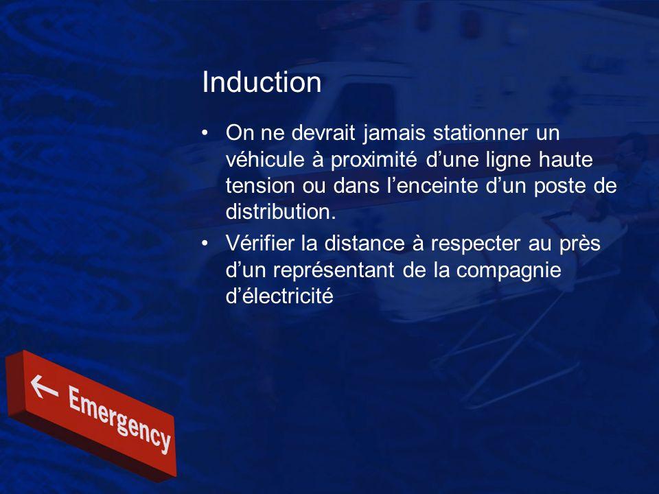 Induction On ne devrait jamais stationner un véhicule à proximité d'une ligne haute tension ou dans l'enceinte d'un poste de distribution.