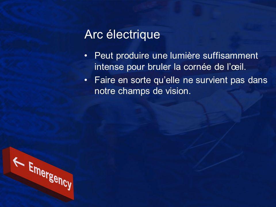Arc électrique Peut produire une lumière suffisamment intense pour bruler la cornée de l'œil.