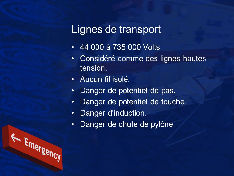 Lignes de transport 44 000 à 735 000 Volts