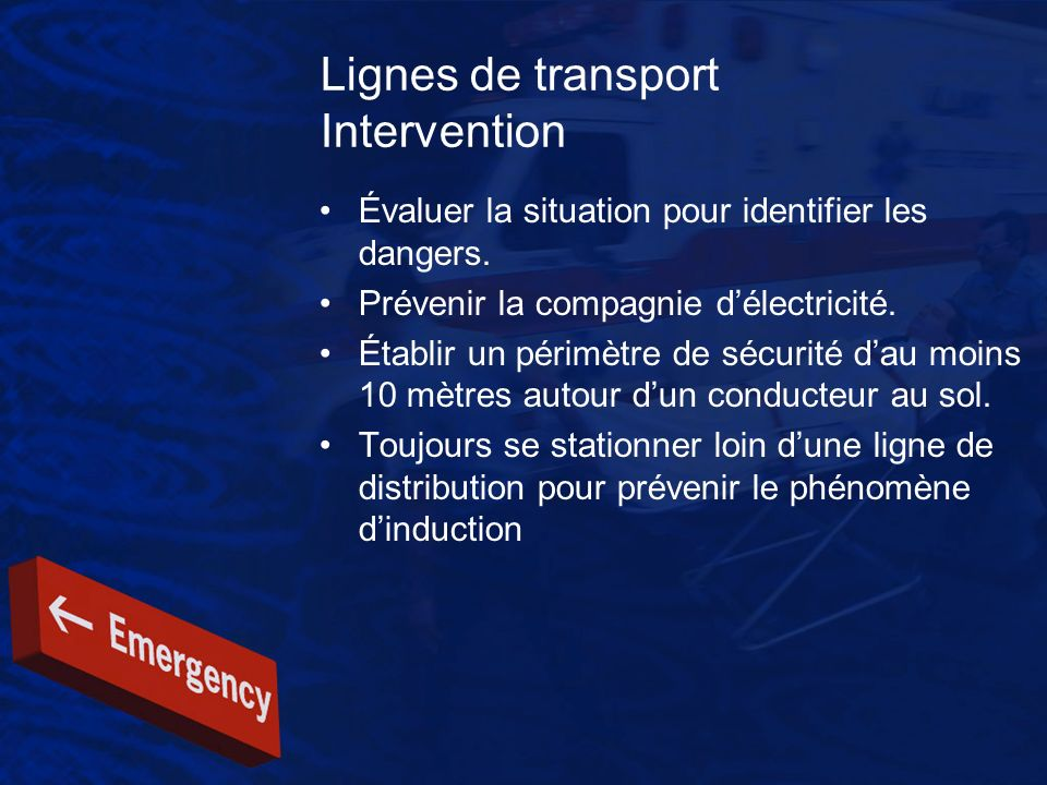 Lignes de transport Intervention