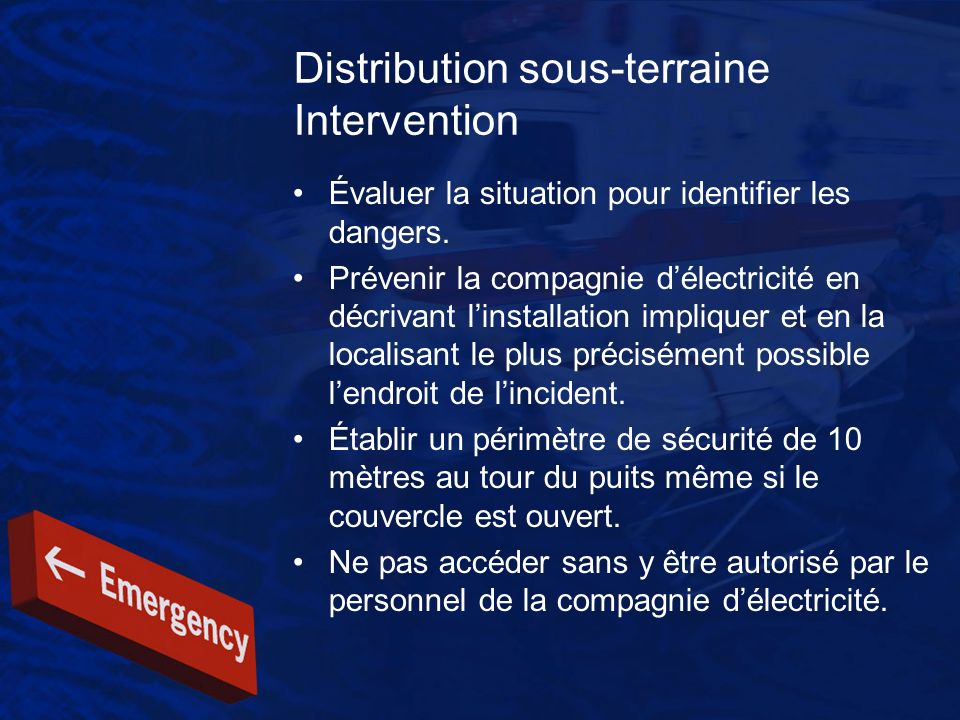 Distribution sous-terraine Intervention