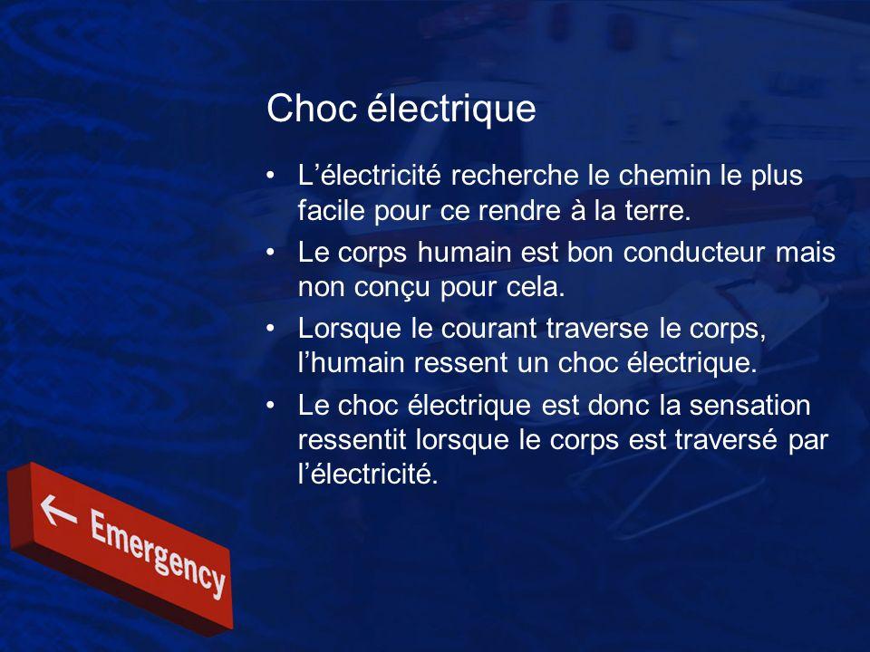 Choc électrique L'électricité recherche le chemin le plus facile pour ce rendre à la terre.