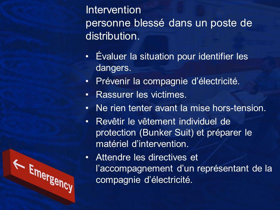 Intervention personne blessé dans un poste de distribution.