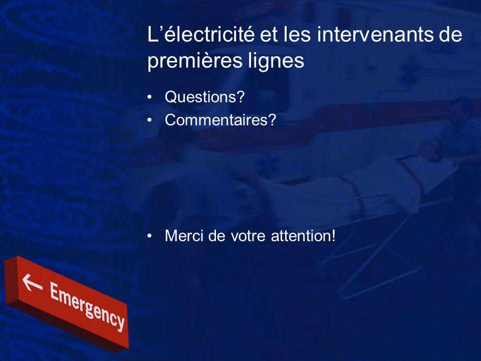 L'électricité et les intervenants de premières lignes