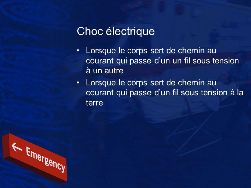 Choc électrique Lorsque le corps sert de chemin au courant qui passe d'un un fil sous tension à un autre.