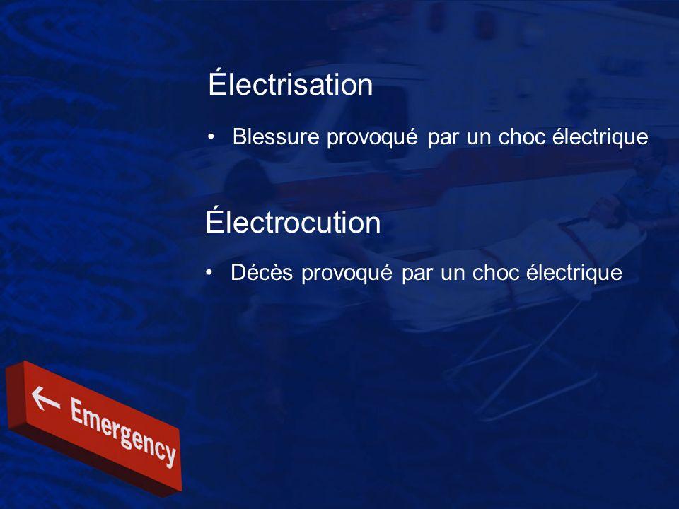 Électrisation Électrocution Blessure provoqué par un choc électrique