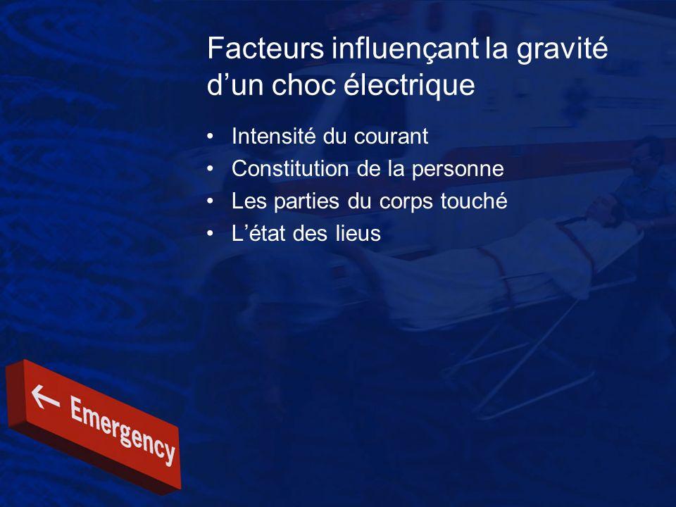 Facteurs influençant la gravité d'un choc électrique