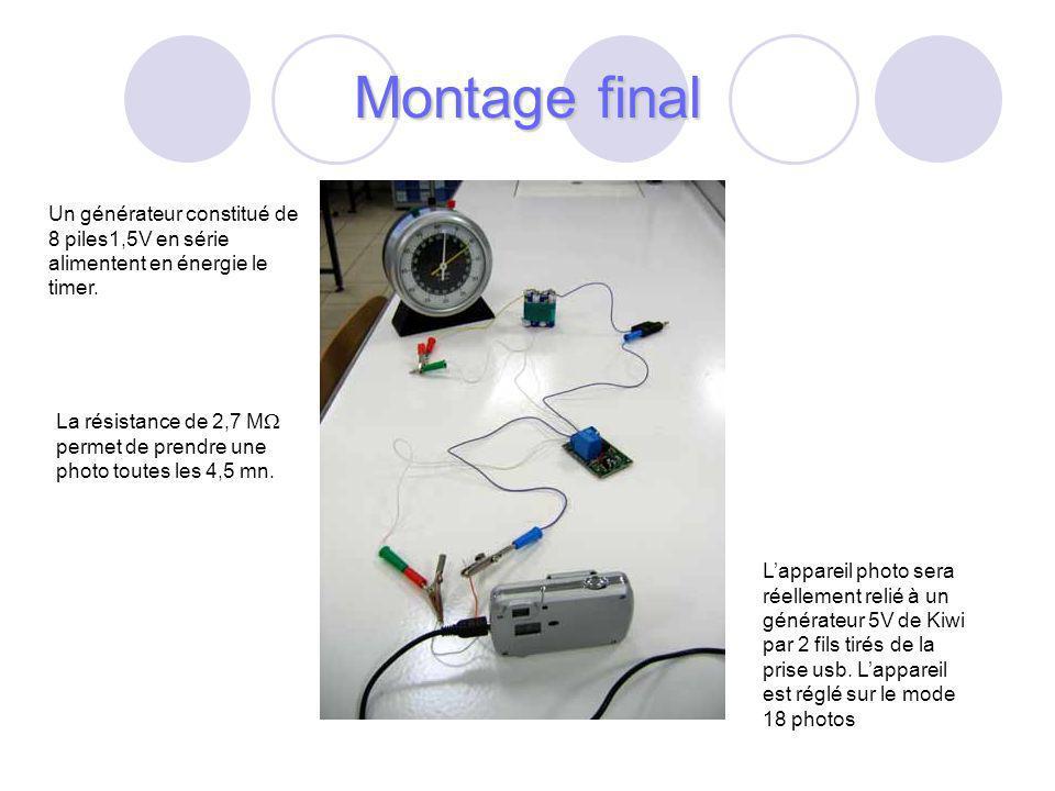 Montage final Un générateur constitué de 8 piles1,5V en série alimentent en énergie le timer.