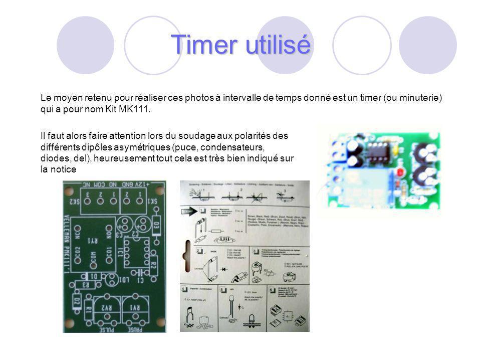 Timer utilisé Le moyen retenu pour réaliser ces photos à intervalle de temps donné est un timer (ou minuterie) qui a pour nom Kit MK111.