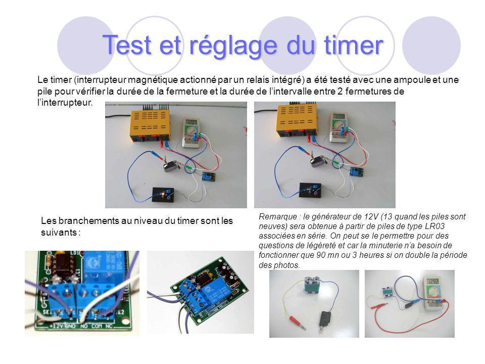 Test et réglage du timer