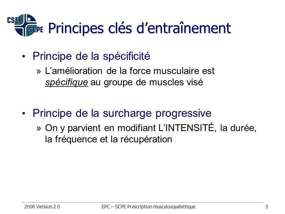 Principes clés d'entraînement