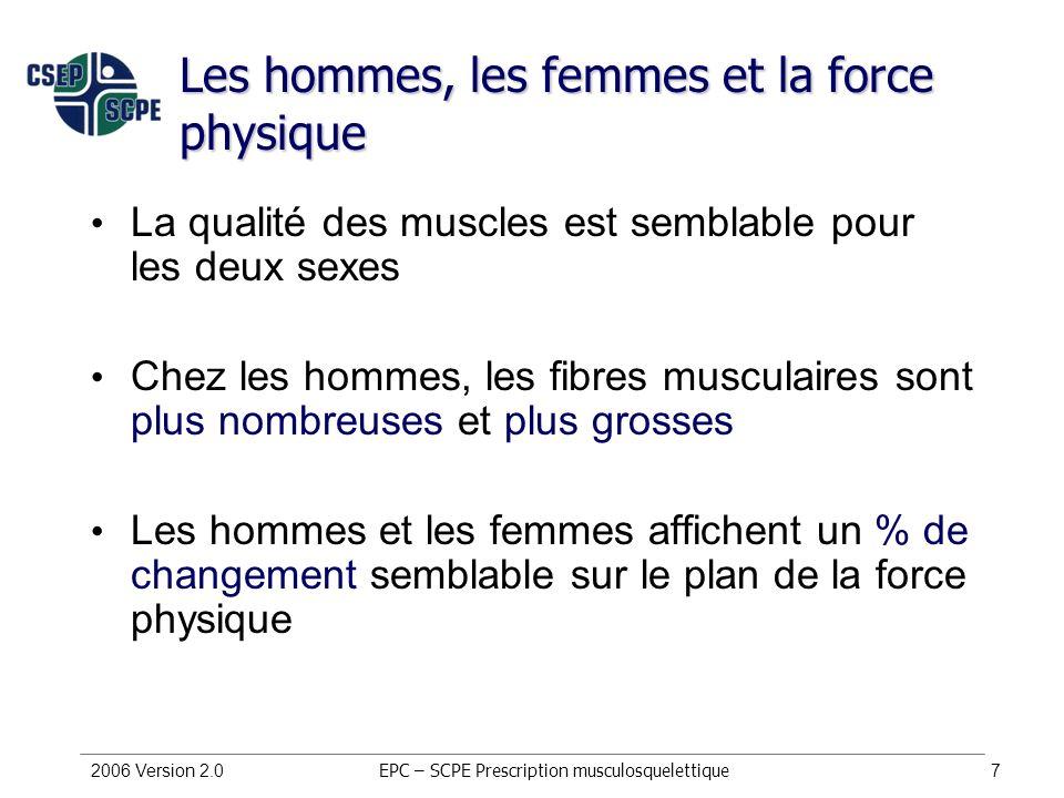 Les hommes, les femmes et la force physique