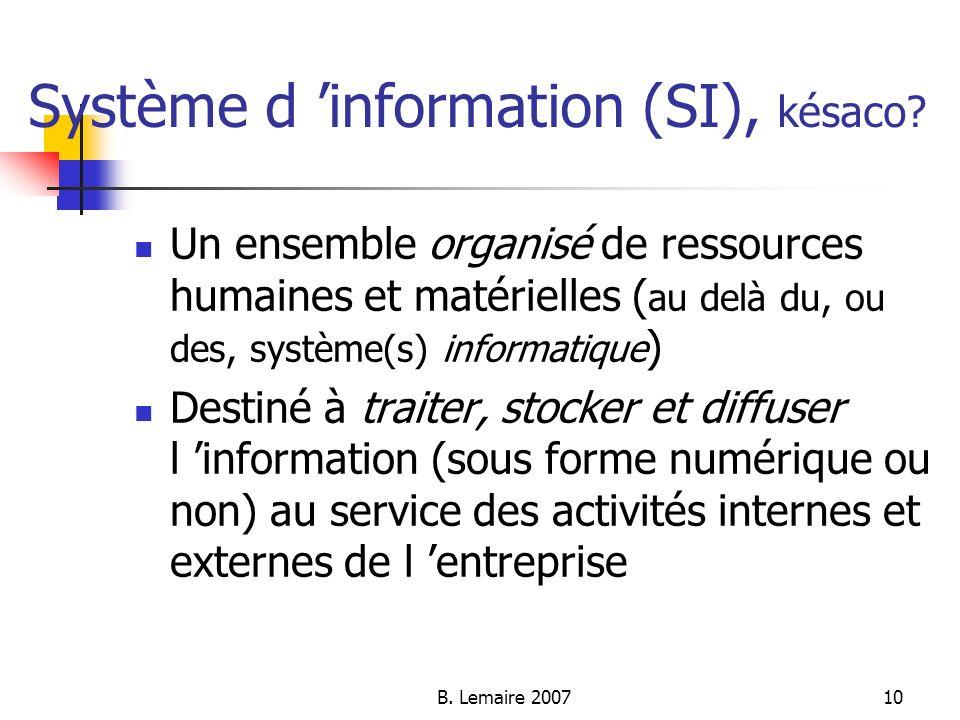 Système d 'information (SI), késaco
