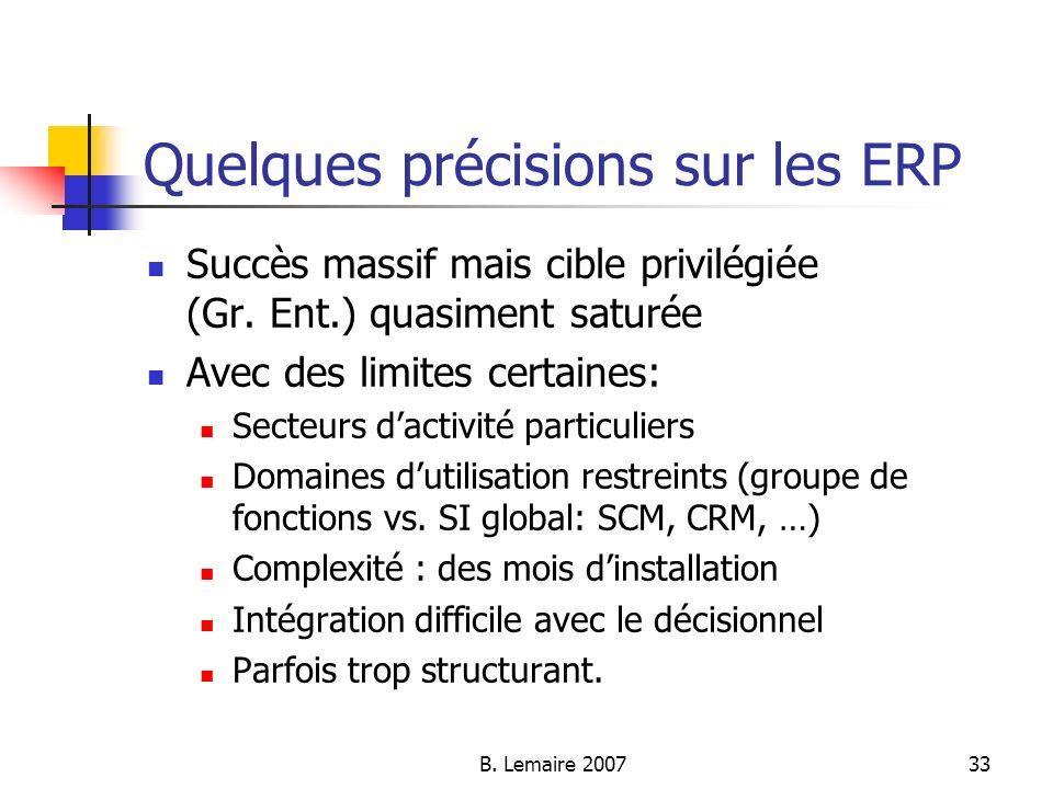 Quelques précisions sur les ERP