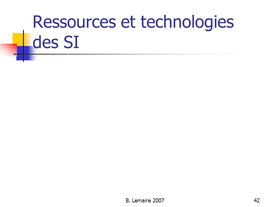 Ressources et technologies des SI