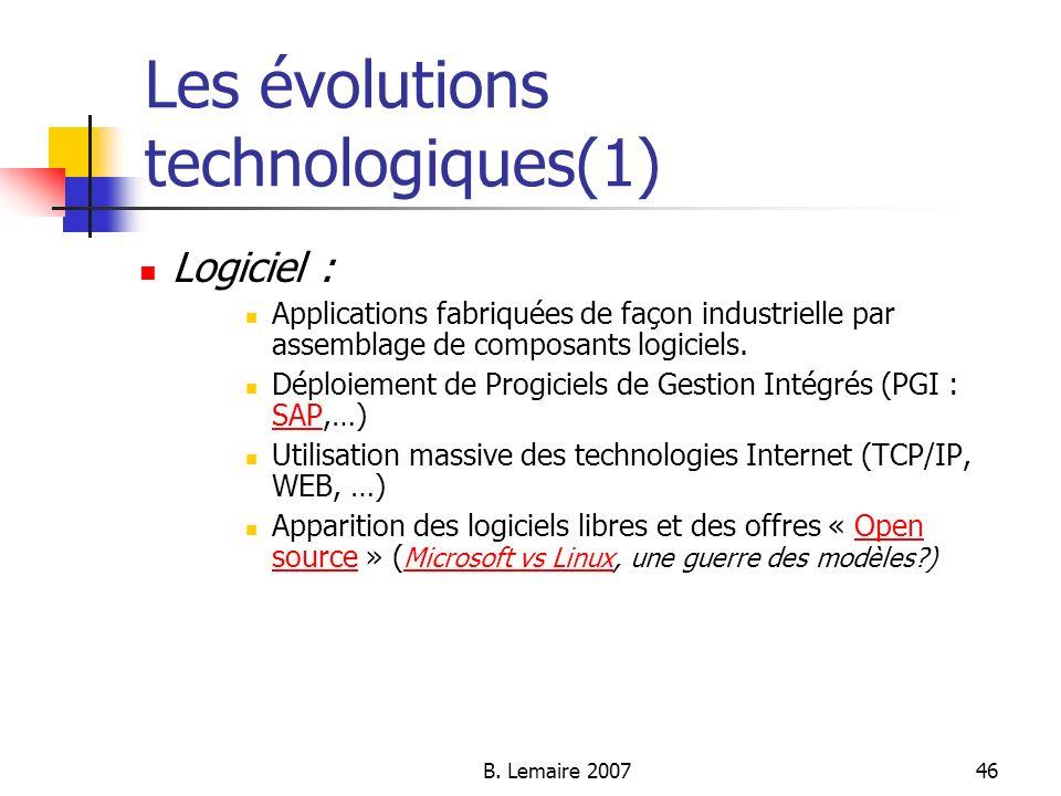 Les évolutions technologiques(1)