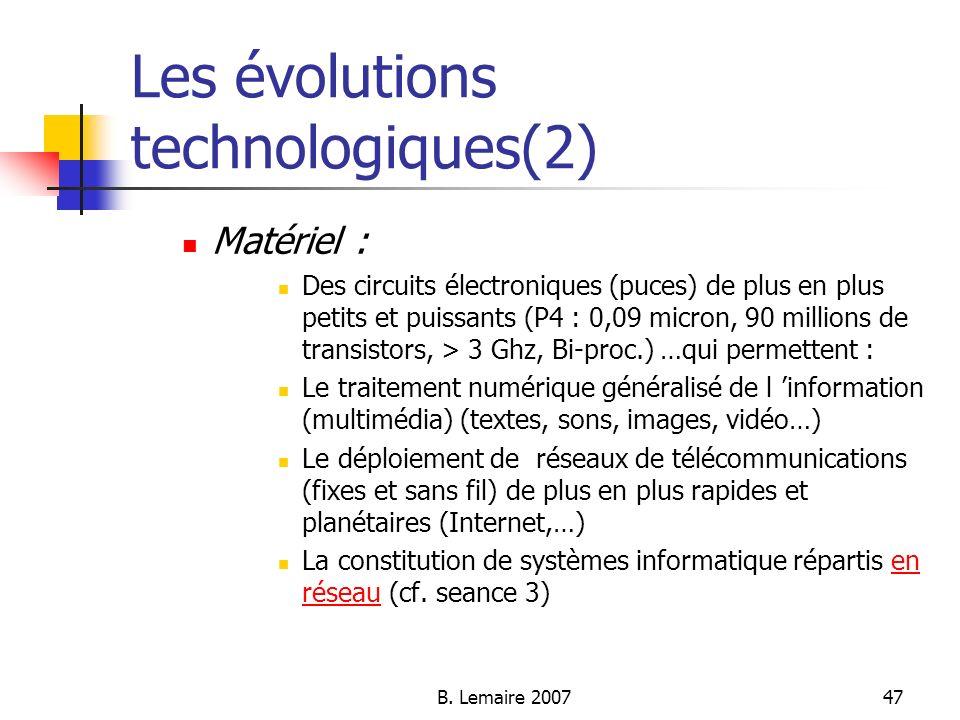 Les évolutions technologiques(2)