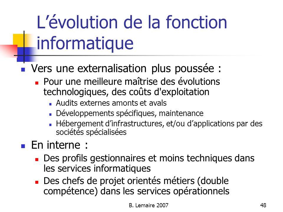 L'évolution de la fonction informatique