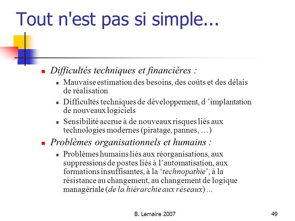 Tout n est pas si simple... Difficultés techniques et financières :