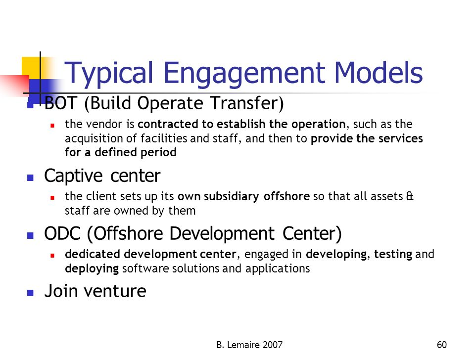 Typical Engagement Models