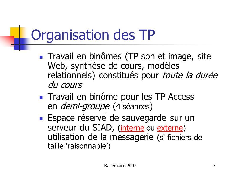 Organisation des TP Travail en binômes (TP son et image, site Web, synthèse de cours, modèles relationnels) constitués pour toute la durée du cours.