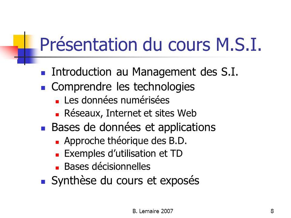 Présentation du cours M.S.I.