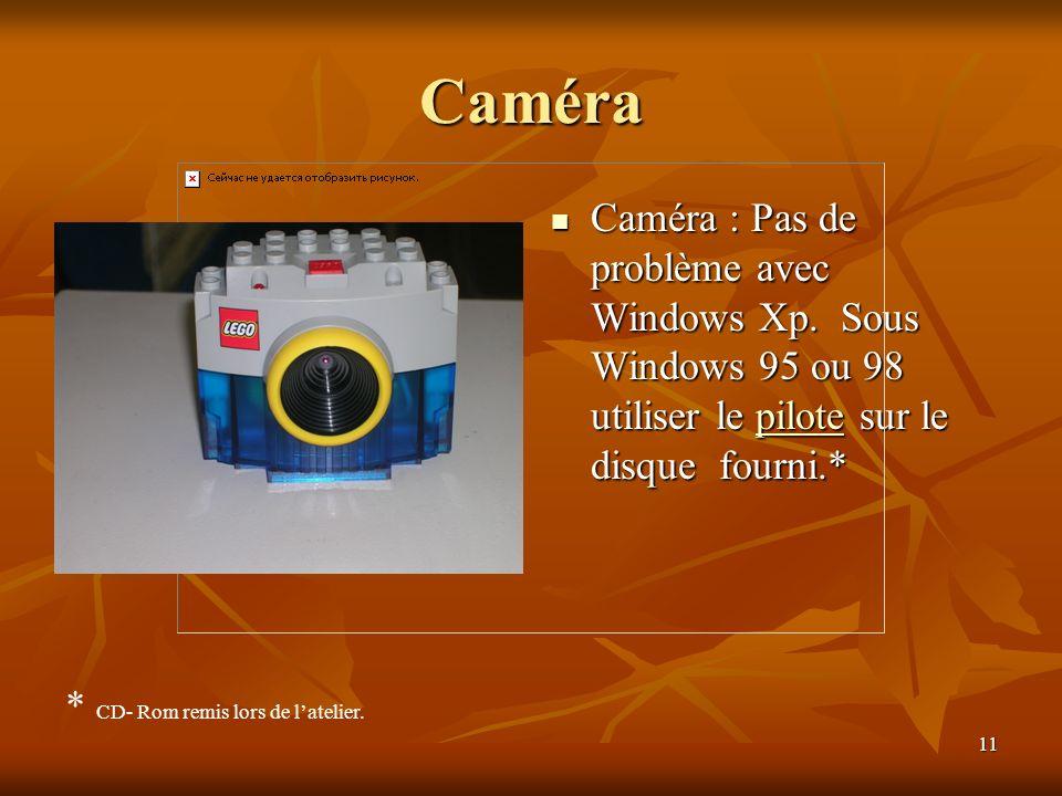 Caméra Caméra : Pas de problème avec Windows Xp. Sous Windows 95 ou 98 utiliser le pilote sur le disque fourni.*