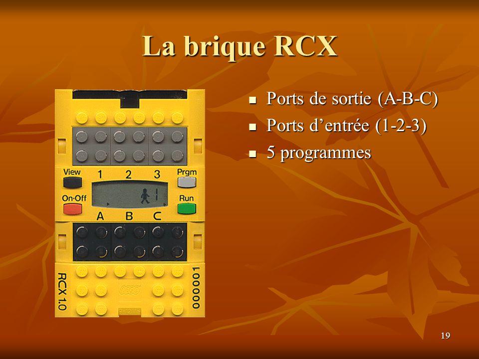 La brique RCX Ports de sortie (A-B-C) Ports d'entrée (1-2-3)