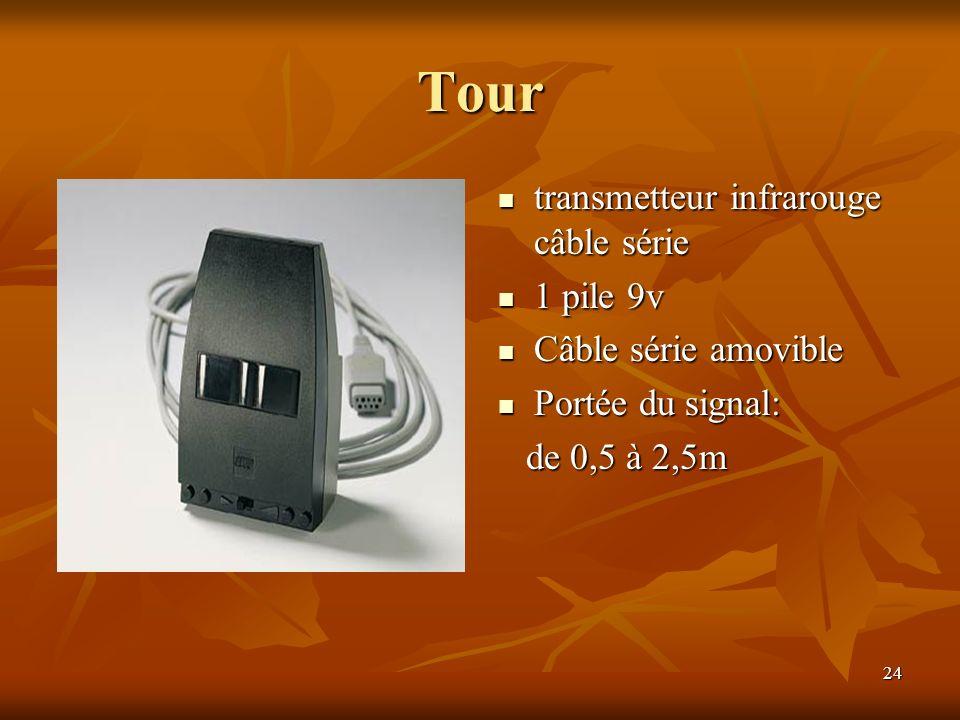 Tour transmetteur infrarouge câble série 1 pile 9v