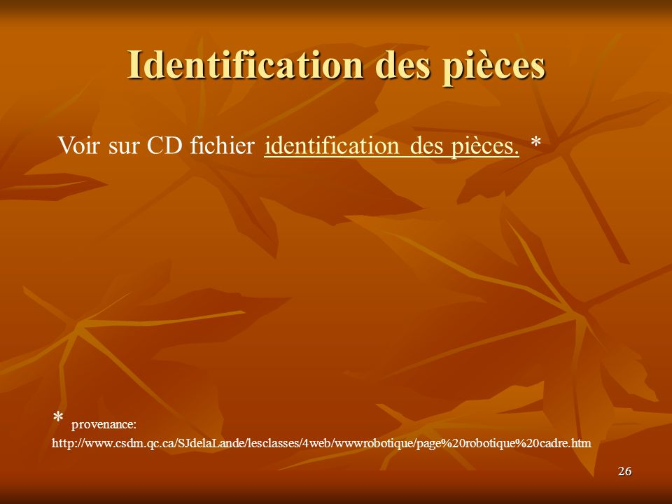 Identification des pièces
