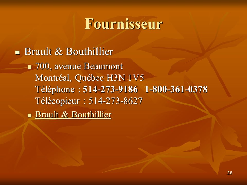 Fournisseur Brault & Bouthillier