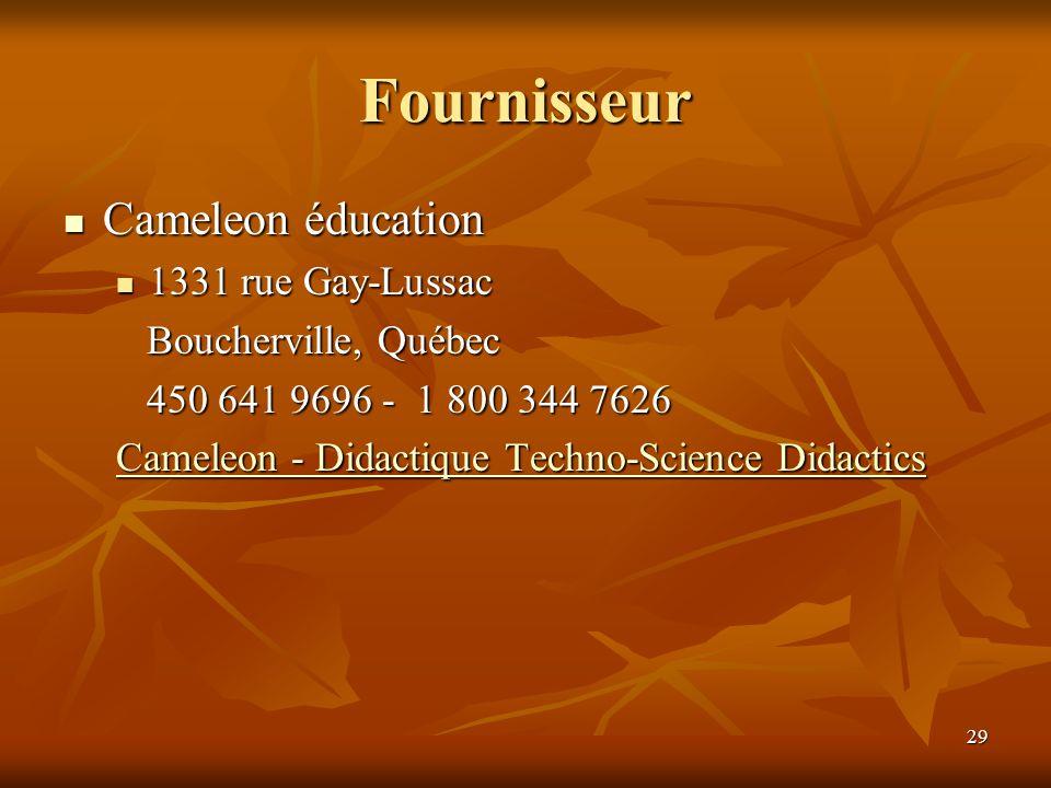 Fournisseur Cameleon éducation 1331 rue Gay-Lussac
