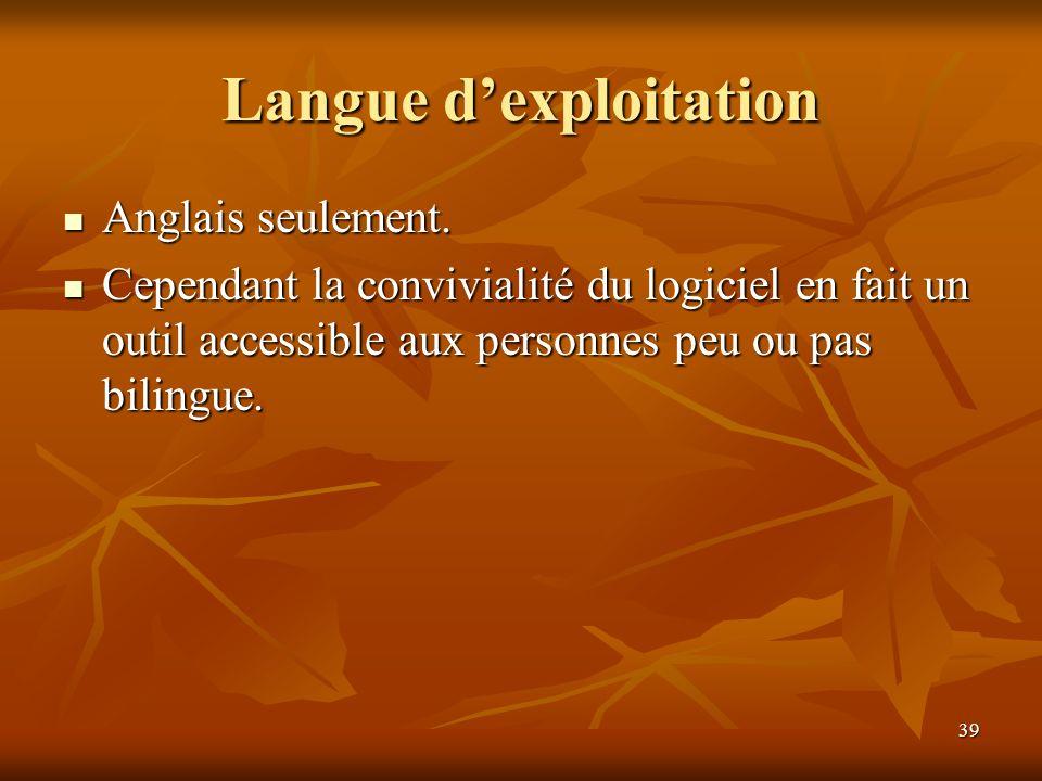 Langue d'exploitation
