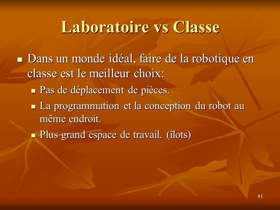 Laboratoire vs Classe Dans un monde idéal, faire de la robotique en classe est le meilleur choix: Pas de déplacement de pièces.