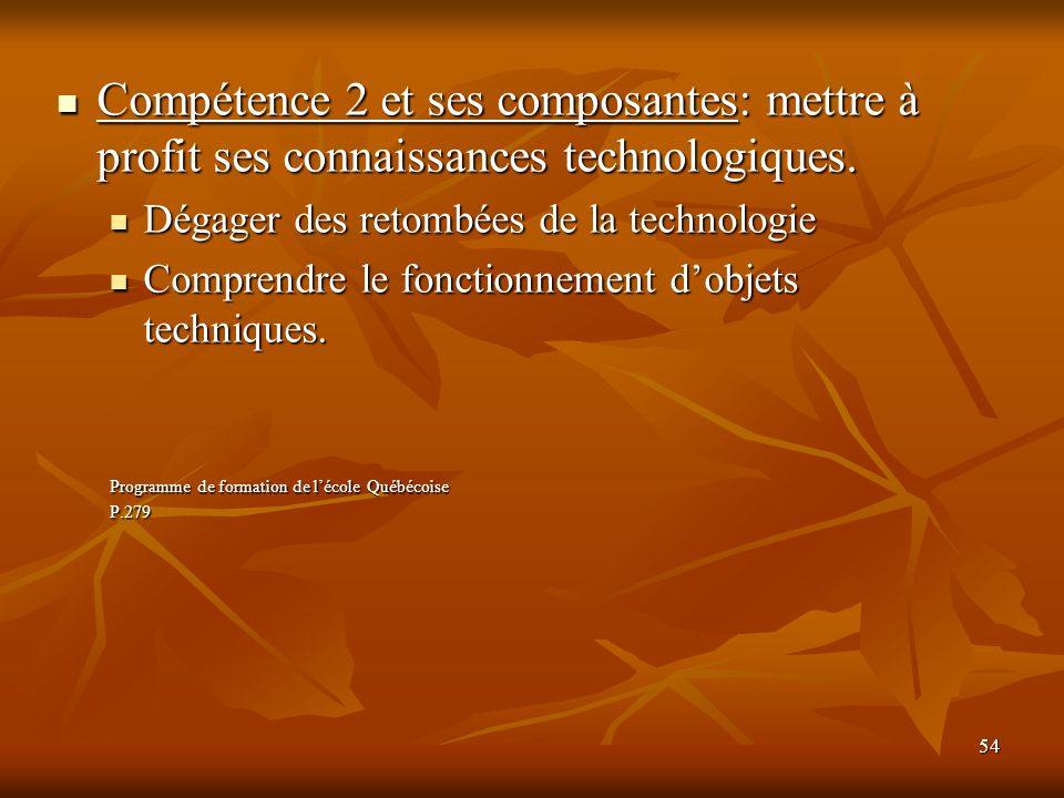 Compétence 2 et ses composantes: mettre à profit ses connaissances technologiques.