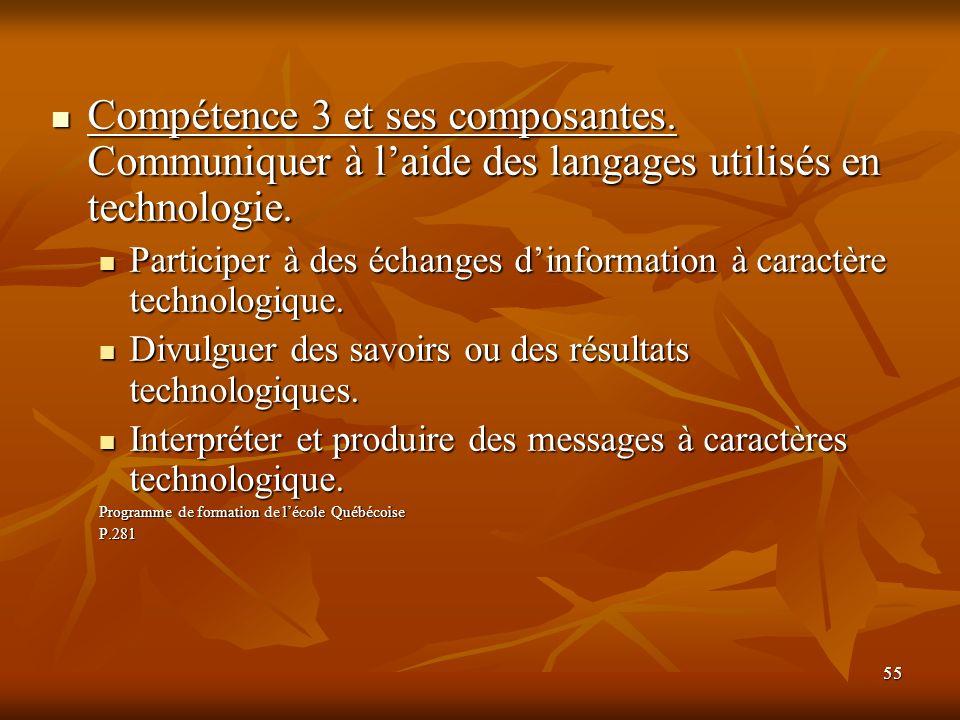 Compétence 3 et ses composantes