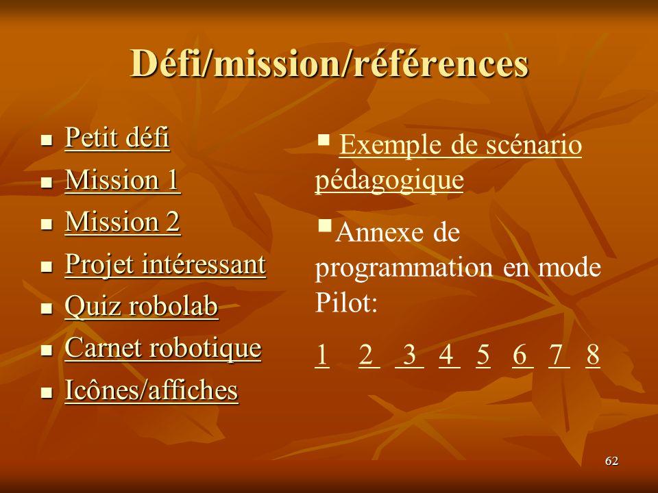 Défi/mission/références