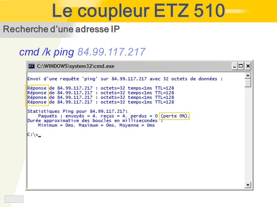 Le coupleur ETZ 510 cmd /k ping 84.99.117.217