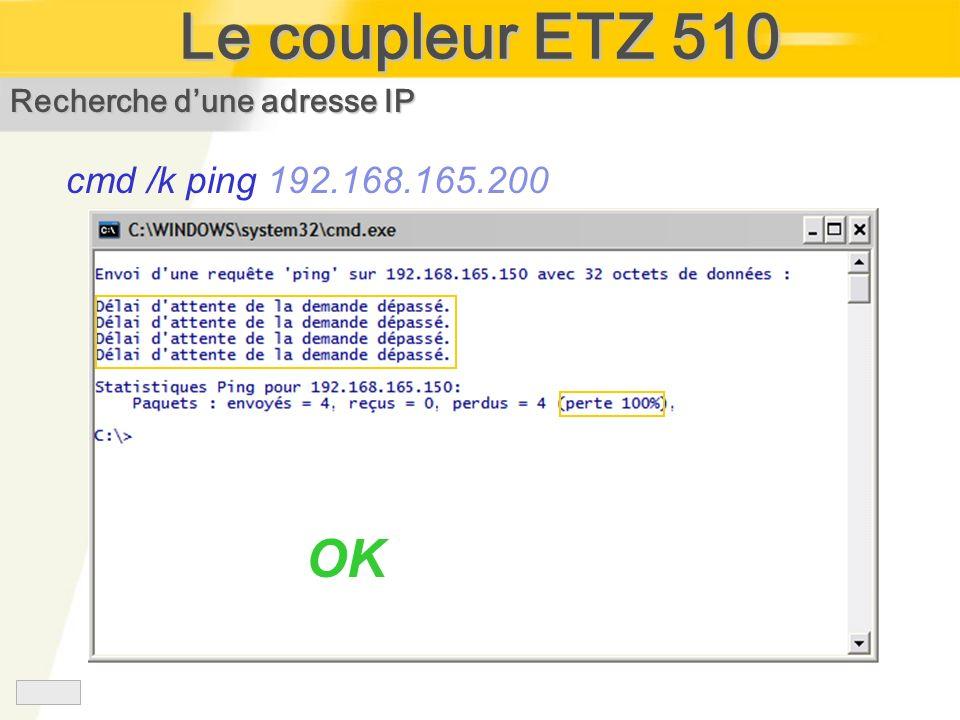 Le coupleur ETZ 510 OK cmd /k ping 192.168.165.200