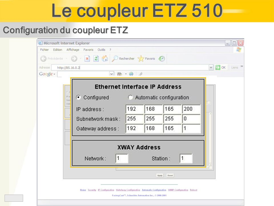 Le coupleur ETZ 510 Configuration du coupleur ETZ