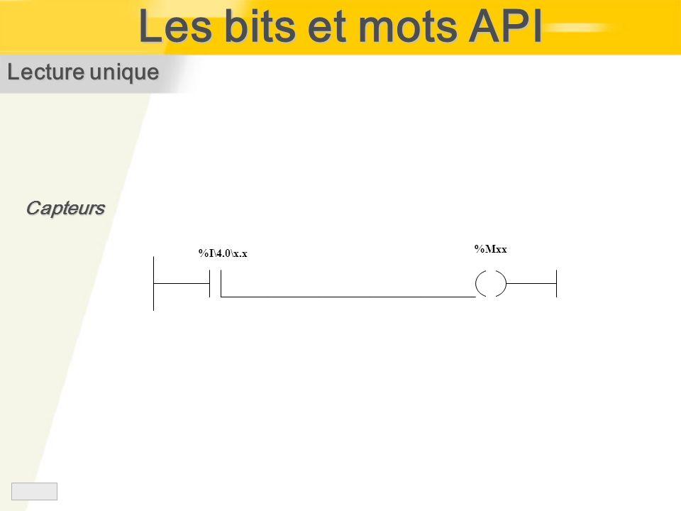 Les bits et mots API Lecture unique Capteurs %I\4.0\x.x %Mxx