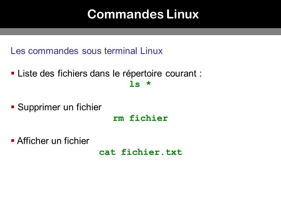 Commandes Linux Les commandes sous terminal Linux
