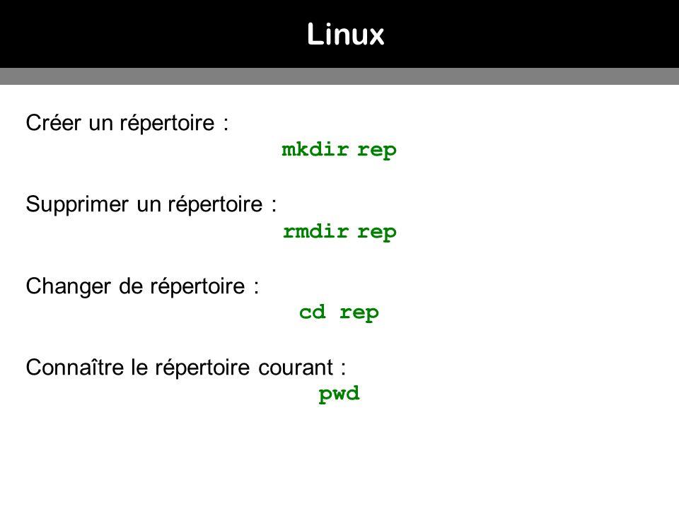 Linux Créer un répertoire : mkdir rep Supprimer un répertoire :