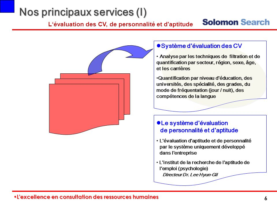 Nos principaux services (I)