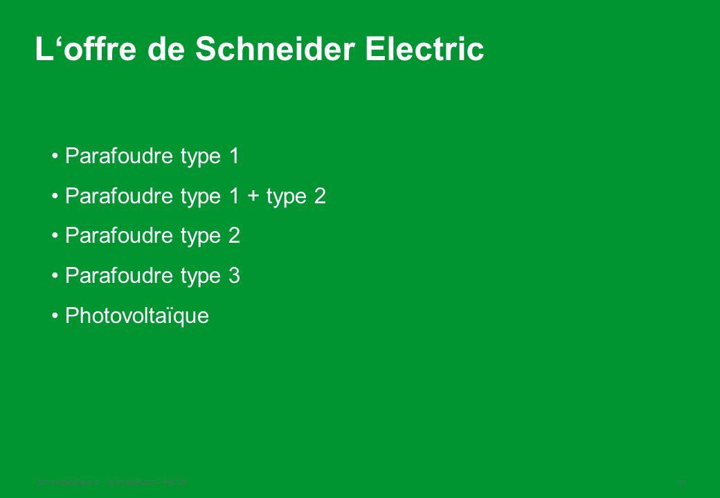 L'offre de Schneider Electric