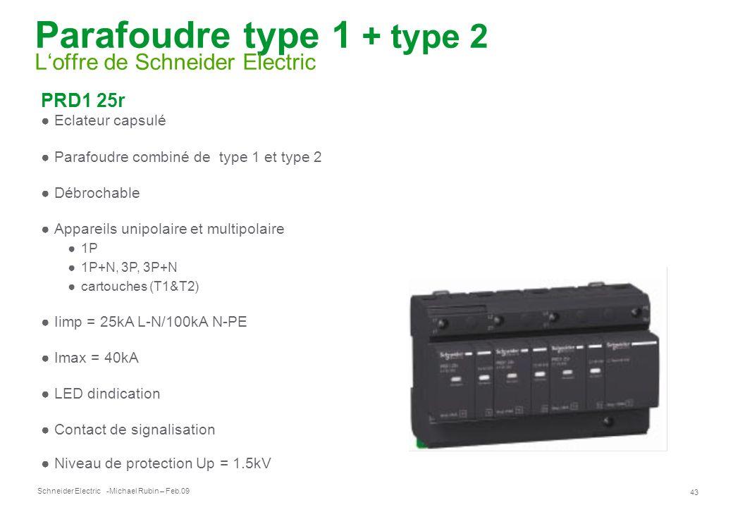 Parafoudre type 1 + type 2 L'offre de Schneider Electric