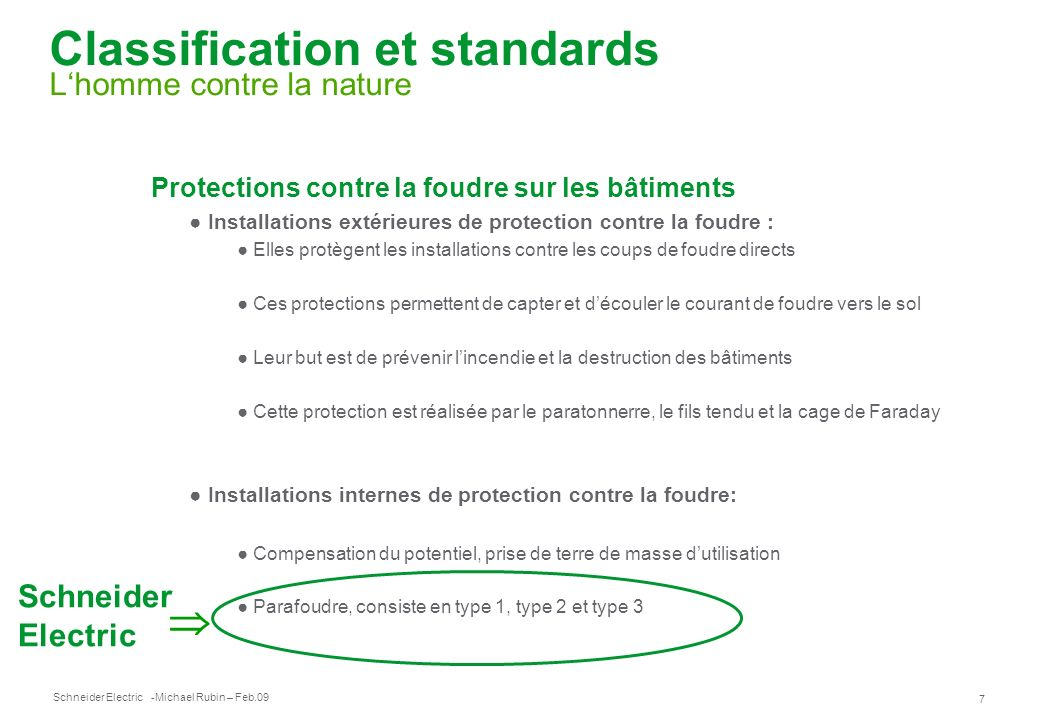 Classification et standards L'homme contre la nature