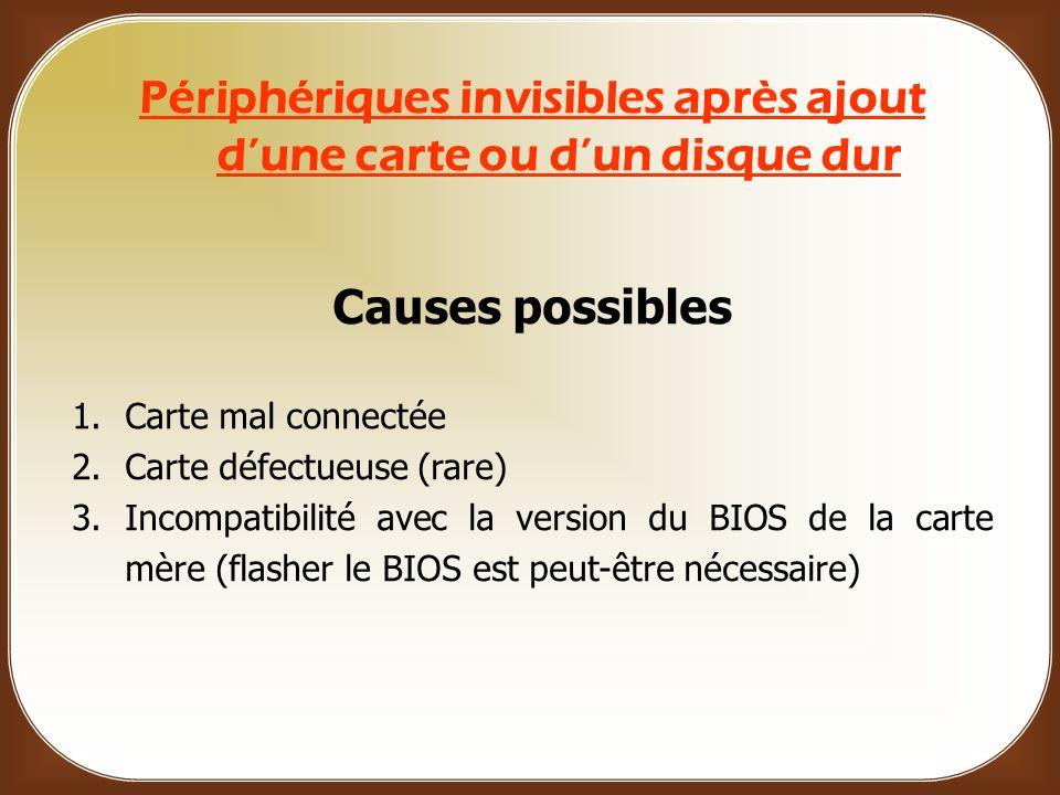 Périphériques invisibles après ajout d'une carte ou d'un disque dur