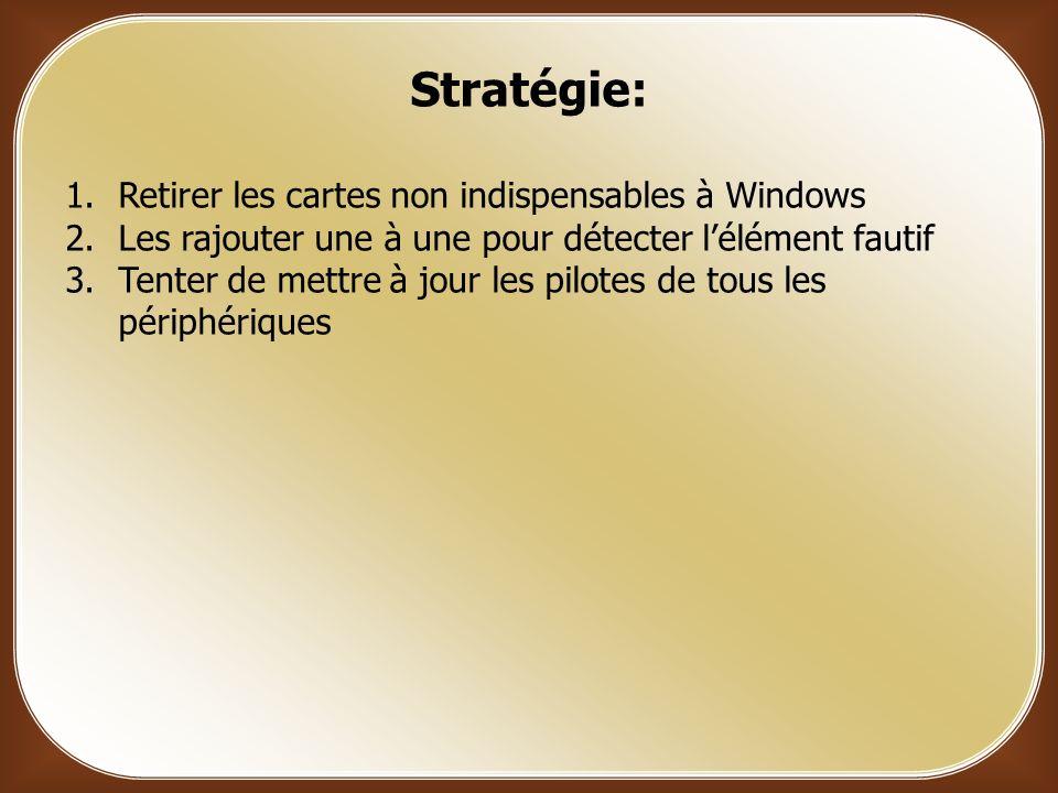 Stratégie: Retirer les cartes non indispensables à Windows