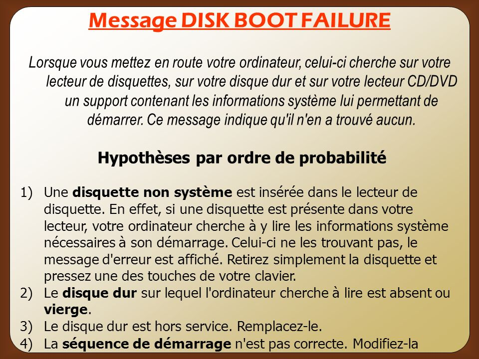 Message DISK BOOT FAILURE